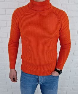 Cieply pomaranczowy sweter golf biker 2002 - L
