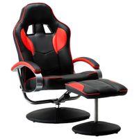 Rozkładany fotel dla gracza z podnóżkiem, czerwony, ekoskóra