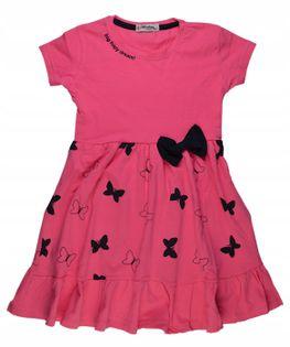 Sukienka Motylki róż bawełna roz.122