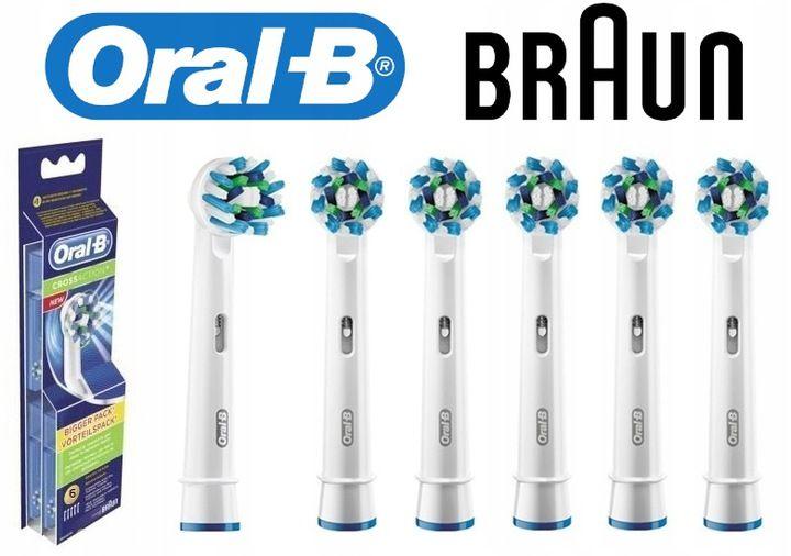 Oryginalne końcówki ORAL-B Braun EB50-6 CROSS ACTION - 6 sztuk zdjęcie 2