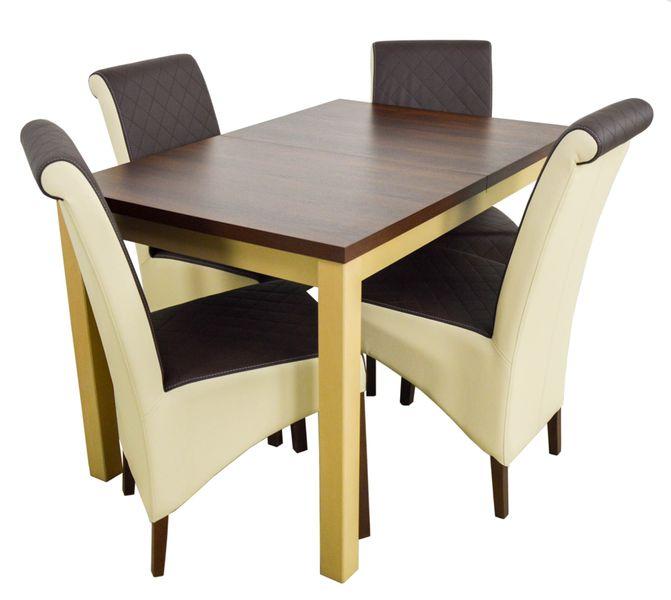 Zestaw Do Salonu 4 Krzesła Drewniany Stół 150 Cm Arenapl