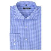 Męska Koszula Biała W Błękitną Kratkę Rozmiar L