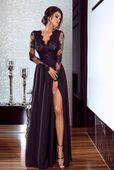 Długa sukienka na wesele koronkowa rozkloszowana czarna luna 46