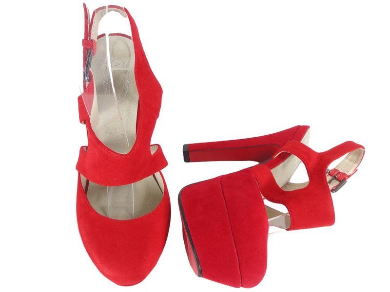 Czerwone zamszowe sandały na słupku z paskiem 39 zdjęcie 2