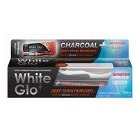 White Glo Charcoal Deep Stain Remover Sensitive Relief Wybielająca Pasta Do Zębów Z Aktywnym Węglem 125Ml + Szczoteczka