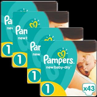 Pieluchy Pampers New Baby 1 Newborn (43 sztuki) x 4 opakowania 608518