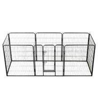 Kojec dla psów, 8 paneli, stalowy, czarny, 80 x 100 cm