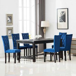 Krzesła Stołowe, 6 Szt., Granatowe, Aksamitne