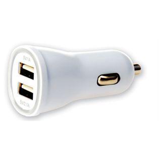 SAMOCHODOWA ŁADOWARKA TECHLY  2X USB 5V 1A/2.1A BIAŁA