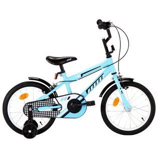 Rower dla dzieci, 16 cali, czarno-niebieski