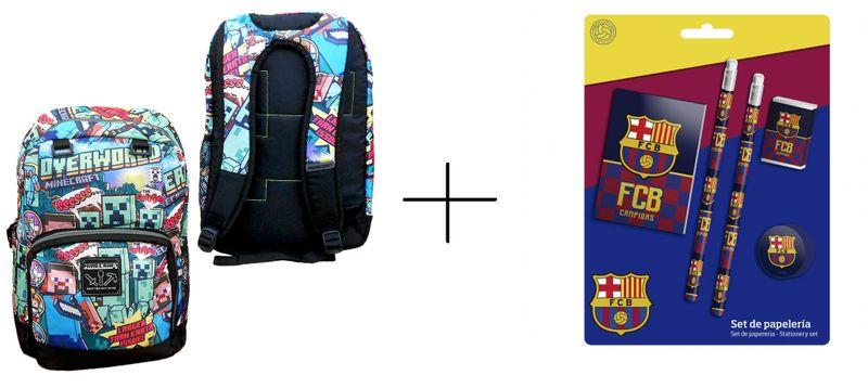 07ff70360874f PLECAK MINECRAFT OVERWORLD TORNISTER GRA+ZESTAW SZKOLNY FC BARCELONA !  zdjęcie 1