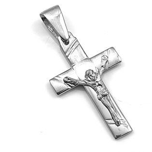 Krzyżyk srebrny rodowany z pasyjką
