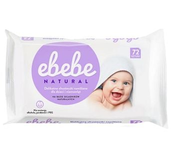EBEBE Natural 72szt - delikatne chusteczki nawilżające dla dzieci i niemowląt