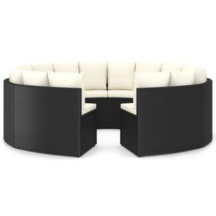 Lumarko 8-częściowa sofa ogrodowa z poduszkami, rattan PE, czarna;