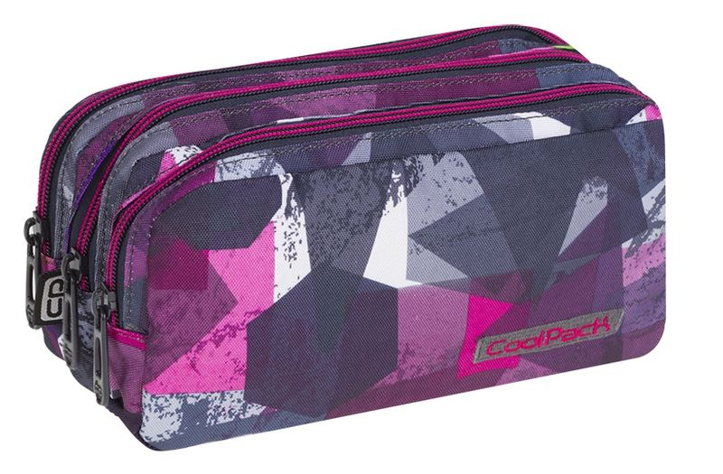 f498ce96e6cd3 Piórnik CoolPack PRIMUS saszetka trzykomorowa różowe wzory geometryczne