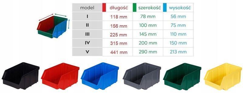 Kuweta pojemnik warsztatowy magazynowy 441x290x213 mm - 8 szt. na Arena.pl