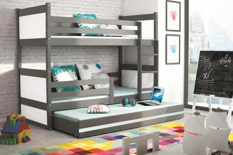 Łóżko meble dla dzieci drewniane Mateusz 190x80 piętrowe 3osobowe zdjęcie 11