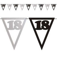 Banner flagi 18 URODZINY czarno srebrny XL 3,6m