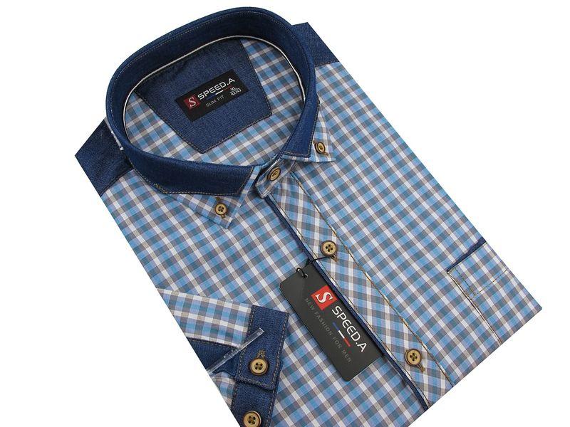 b7043d455e5982 Koszula Męska Speed.A błękitna w kratkę z dodatkami jeans SLIM FIT na  krótki rękaw