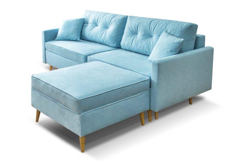 Kanapa Sofa Blue Z Pufą Rozkładana Bonell Skandynawska Arenapl