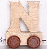 Wagonik z literką N - LITERKA element z układanki ALFABET POCIĄG