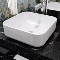 Umywalka ceramiczna kwadratowa 38 x 38 x 13,5 cm, biała