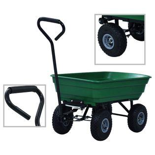 Ogrodowy wózek ręczny z wywrotką 300 kg 75 L zielony VidaXL