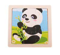 Puzzle Drewniane Układanka Panda 9El. 11X11 Cm