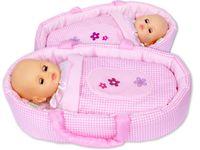 Nosidełko BOBO dla lalki do 45 cm różowa kratka z kwiatuszkami