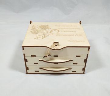 Szkatułka Róża ,kuferek, pudełko,szufladki