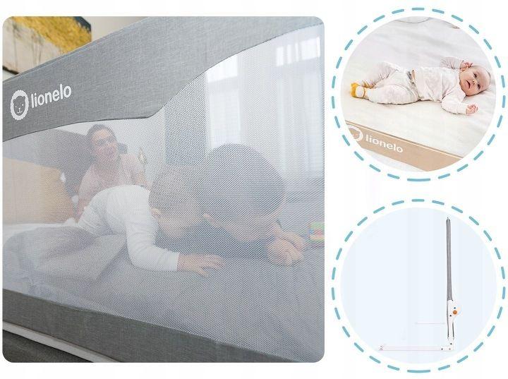 Lionelo Hanna Barierka Ochronna łóżka Wysoka 66cm