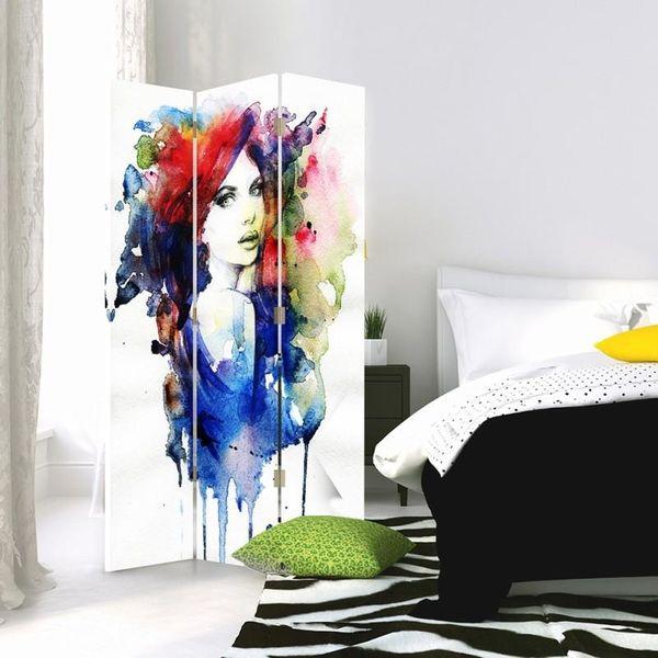 Parawan pokojowy, trzyczęściowy, jednostronny, na płótnie Canvas, Watercolor women 110x150 zdjęcie 2