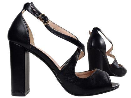 Czarne sandały na słupku eko skóra buty damskie 38