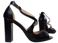 Czarne sandały na słupku eko skóra buty damskie 37