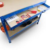 Stół Warsztatowy Garażowy Duży z Szufladą uchwyty Solidny do 100 kg zdjęcie 6