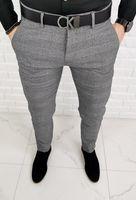Szare eleganckie spodnie męskie w stylowa krate 1190 - 32