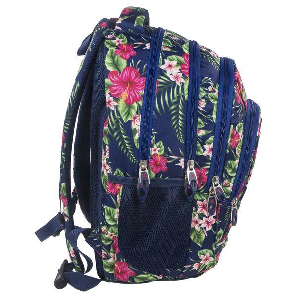 27d3dfa7dc5bc Plecak szkolny młodzieżowy Back UP różowe kwiaty na granatowym tle TROPICAL  FLOWERS + słuchawki (PLB1A12