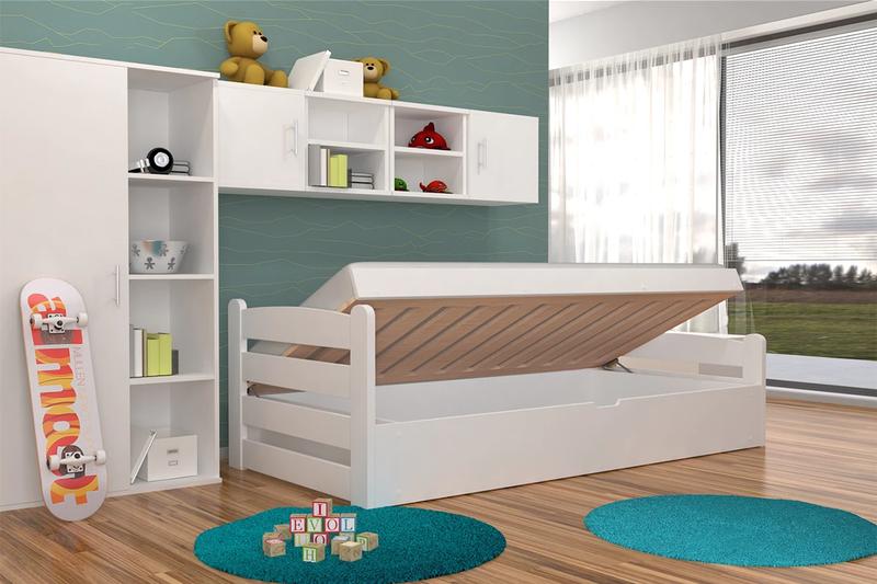 Szare łóżko Dziecięce Z Drewna Dragon 90x200 Z Pojemnikiem I Materacem