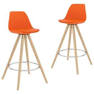 Stołki barowe, 2 szt., pomarańczowe, PP i lite drewno bukowe