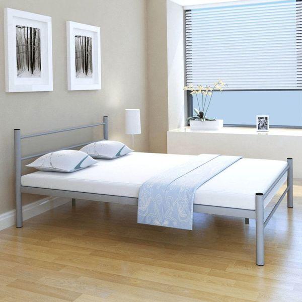 łóżko Rama łóżka Metalowa Szara 140x200