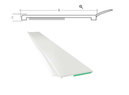 Listwa okienna PCV B=50mm C=1,5mm biała z uszczelką L=50mb