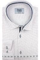 Koszula Męska Espada biała we wzorki na długi rękaw w kroju SLIM FIT A379 XL 43 182/188