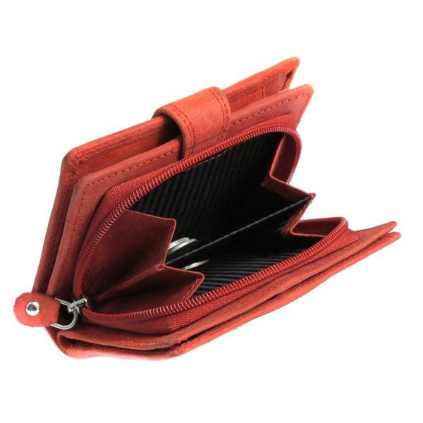 13d7317f42609 Pojemny czerwony portfel damski Always Wild ze skóry nubukowej z zapięciem  zdjęcie 6