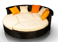 Duże łóżko ogrodowe tarasowe czarny technorattan moduły