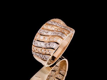 P528 Złoty pierścionek ażurowy  z cyrkoniami /585