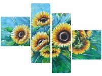 100 70cm obraz 4 elem Słoneczniki niebieskim druk płótno rama
