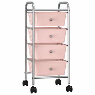 Wózek z 4 szufladami różowy plastikowy VidaXL