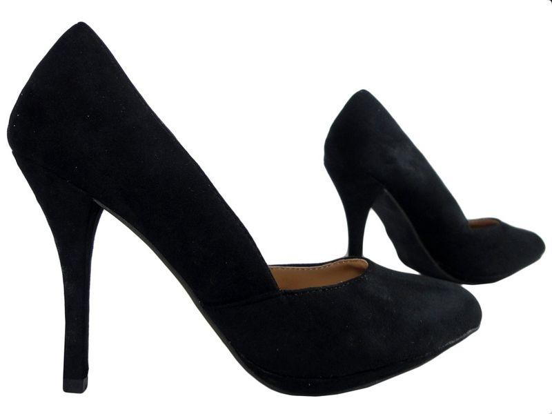 Czarne szpilki zamszowe buty damskie  37 zdjęcie 3