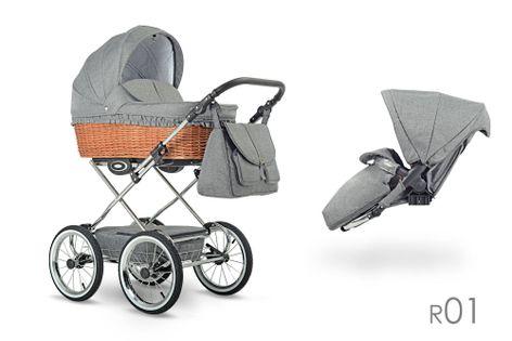Klasyczny wózek dzieciecy Retro  Lonex 3w1 szary