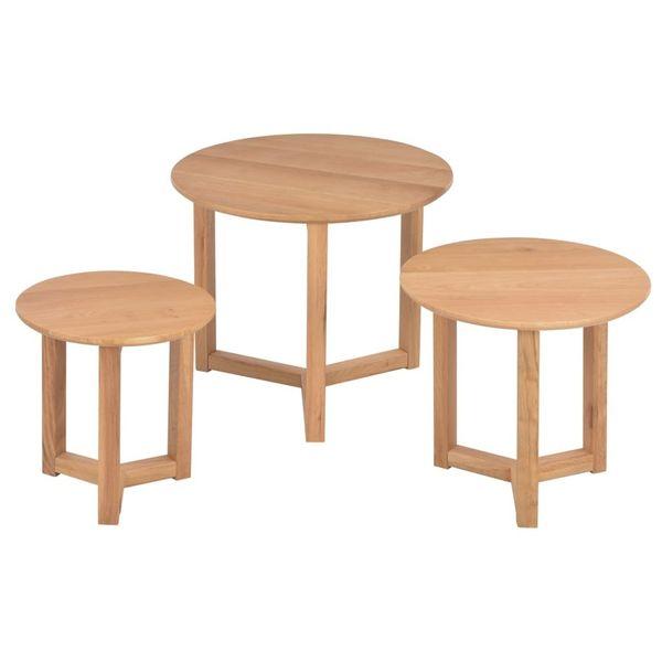 Stoliki Kawowe 3 Szt Lite Drewno Dębowe